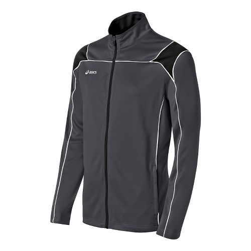 Mens ASICS Miles Warm Up Hooded Jackets - Steel Grey/Black XS
