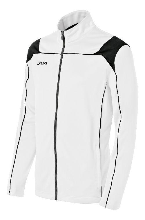 Mens ASICS Miles Warm Up Hooded Jackets - White/Black XS