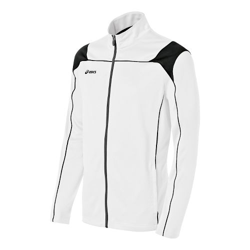 Mens ASICS Miles Warm Up Hooded Jackets - White/Black XXL