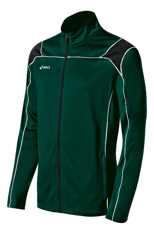 Mens ASICS Miles Warm Up Hooded Jackets - Forest/Black L