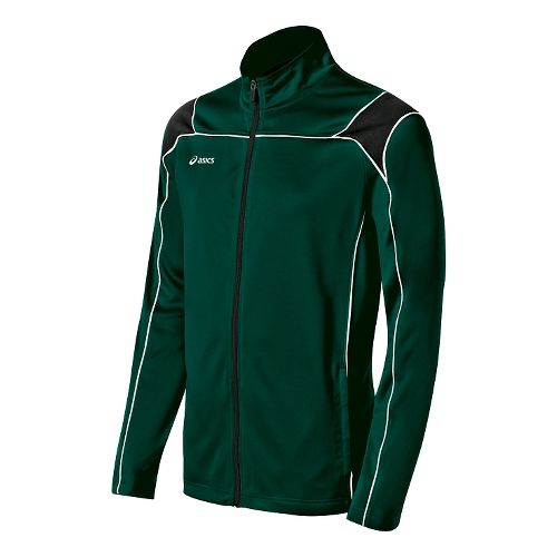 Mens ASICS Miles Warm Up Hooded Jackets - Forest/Black S