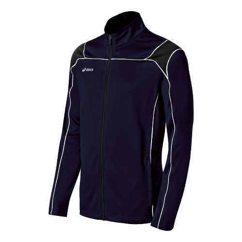 Mens ASICS Miles Warm Up Hooded Jackets - Navy/Black M