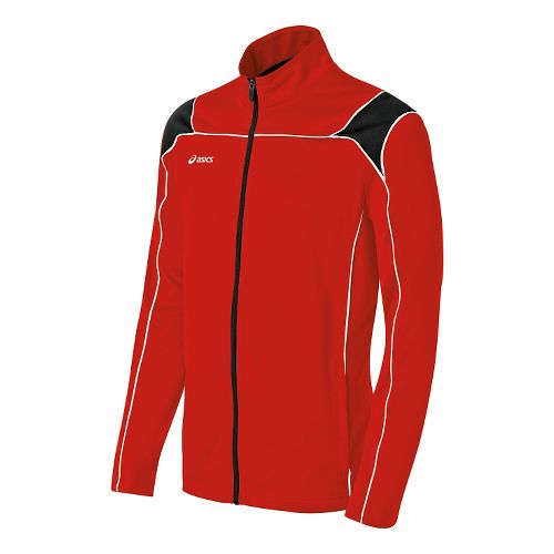 Mens ASICS Miles Warm Up Hooded Jackets - Red/Black XS