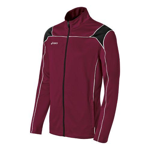 Mens ASICS Miles Warm Up Hooded Jackets - Cardinal/Black XL