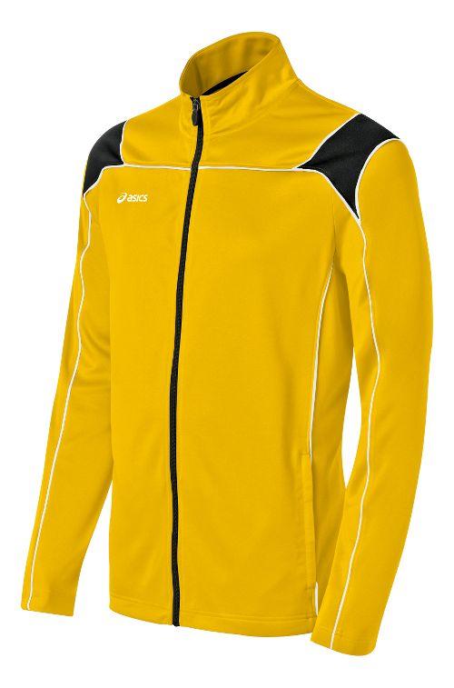 Mens ASICS Miles Warm Up Hooded Jackets - Gold/Black M