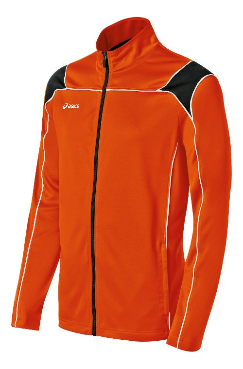Mens ASICS Miles Warm Up Hooded Jackets - Orange/Black S