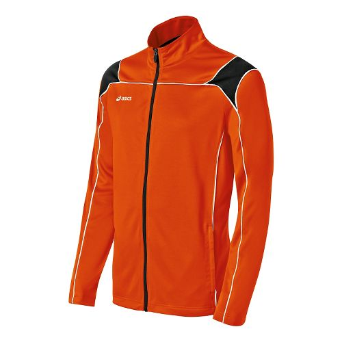 Mens ASICS Miles Warm Up Hooded Jackets - Orange/Black M