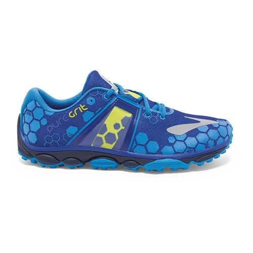 Mens Brooks PureGrit 4 Trail Running Shoe - Blue/Lime 12.5