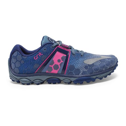 Womens Brooks PureGrit 4 Trail Running Shoe - China Blue/Pink Glo 10