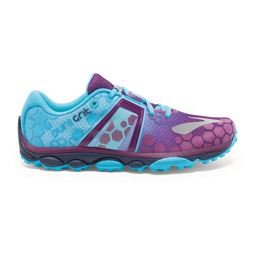 Womens Brooks PureGrit 4 Trail Running Shoe - Phlox/Aquarius 11.5