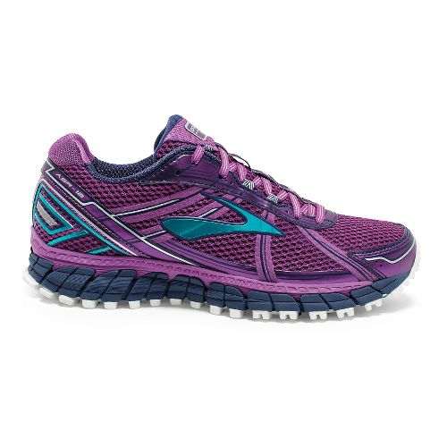 Womens Brooks Adrenaline ASR 12 Trail Running Shoe - Purple/Blue Bird 11