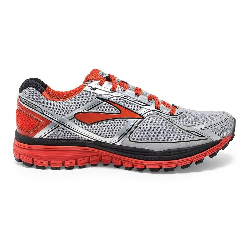 Mens Brooks Ghost 8 GTX Running Shoe - Silver/Poinciana 12