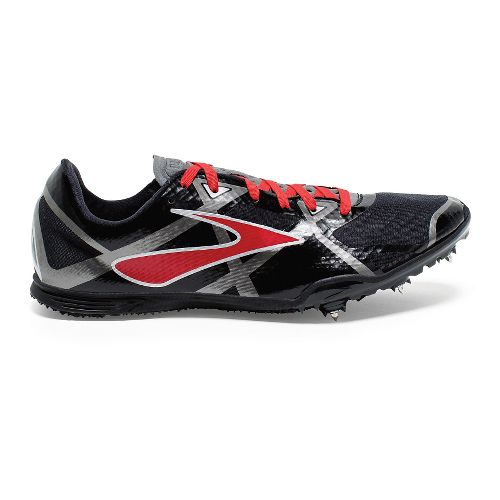 Mens Brooks PR MD 4 Track and Field Shoe - Black/High Risk Red 10