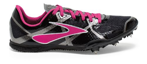 Womens Brooks PR MD 4 Track and Field Shoe - Black/Pink Glo 11