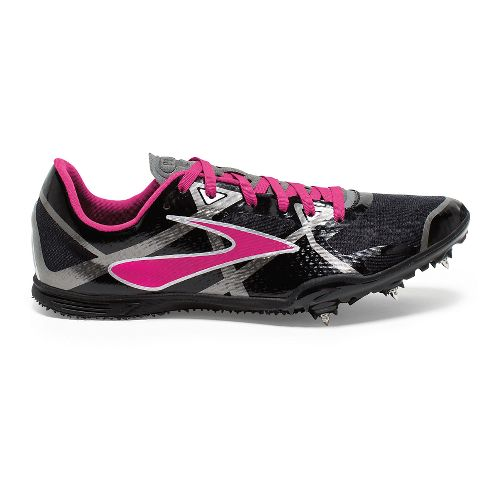 Womens Brooks PR MD 4 Track and Field Shoe - Black/Pink Glo 8.5