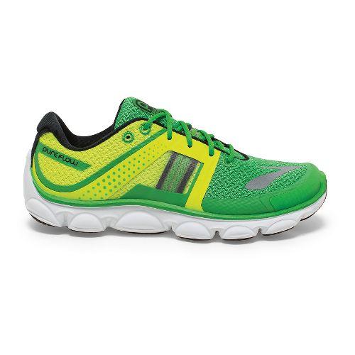 Kids Brooks PureFlow 4 GS Running Shoe - Green/Nightlife 3.5