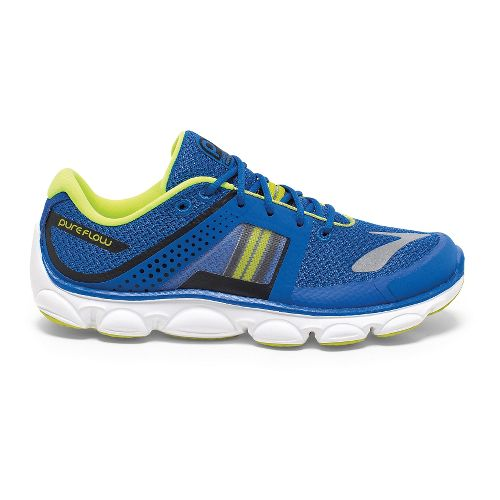 Kids Brooks PureFlow 4 Grade Boys Running Shoe - Electric Brooks/Lime 1.5