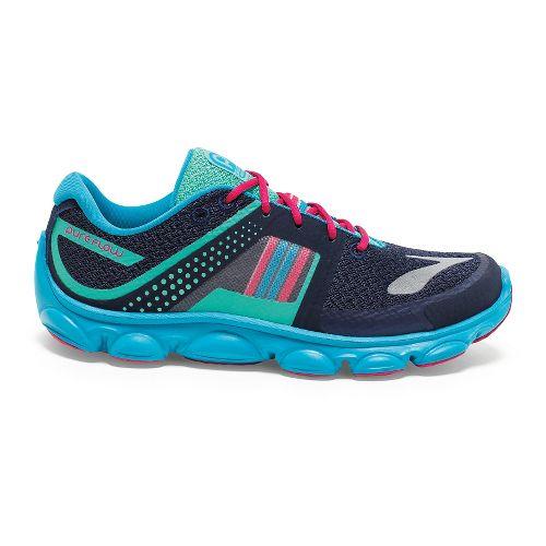 Kids Brooks PureFlow 4 Grade Girls Running Shoe - Peacoat/Green 7