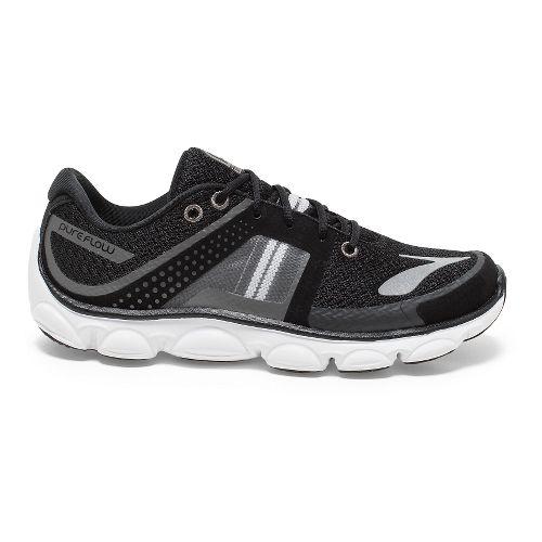 Kids Brooks PureFlow 4 Grade Running Shoe - Black/Silver 5