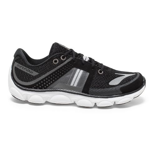 Kids Brooks PureFlow 4 Grade Running Shoe - Black/Silver 6.5