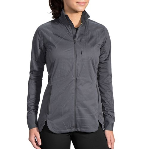 Womens Brooks Drift Shell Running Jackets - Asphalt Reflective XXL