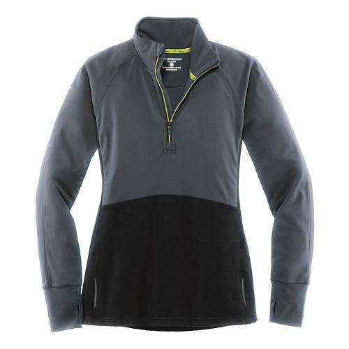 Womens Brooks Drift 1/2 Zip Long Sleeve Technical Tops - Asphalt XL