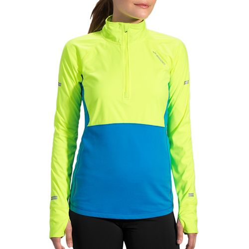 Womens Brooks Drift 1/2 Zip Long Sleeve Technical Tops - Nightlife/Ultra Blue M