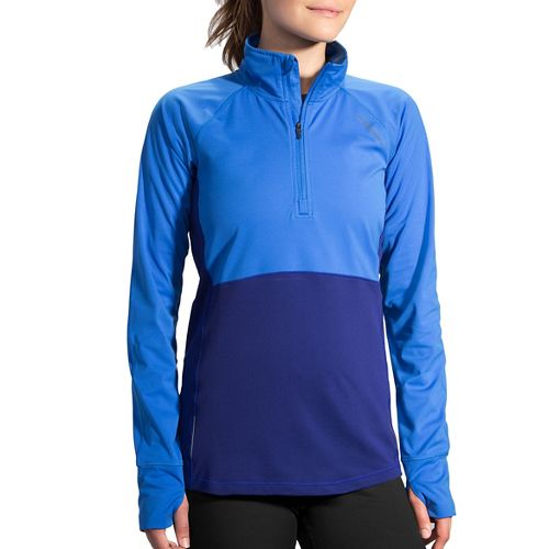 Womens Brooks Drift 1/2 Zip Long Sleeve Technical Tops - Wave/Marine XL