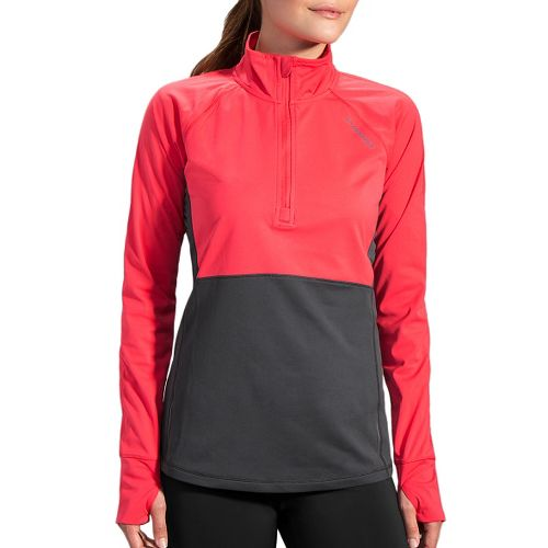 Womens Brooks Drift 1/2 Zip Long Sleeve Technical Tops - Poppy/Asphalt M