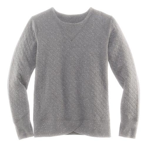 Womens Brooks Fly-by Sweatshirt Long Sleeve Technical Tops - Oxford/Kale S