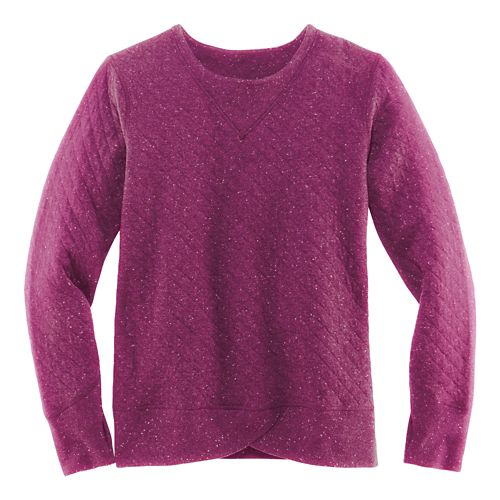 Womens Brooks Fly-by Sweatshirt Long Sleeve Technical Tops - Currant/Navy M