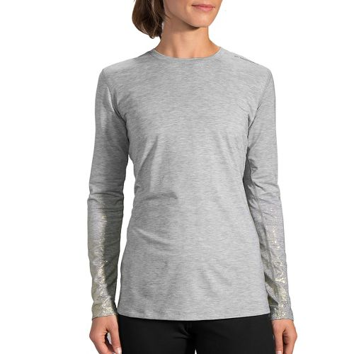 Womens Brooks Distance Long Sleeve Technical Tops - Heather Oxford/Sol XXL