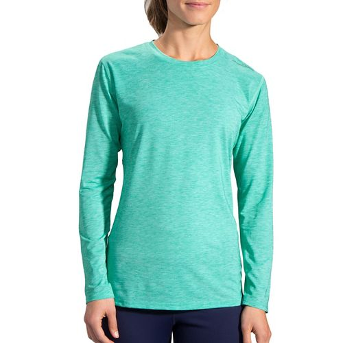 Womens Brooks Distance Long Sleeve Technical Tops - Heather Parquet S
