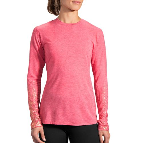 Womens Brooks Distance Long Sleeve Technical Tops - Heather Poppy/Sol M