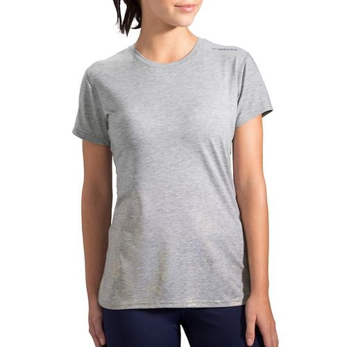 Womens Brooks Distance Short Sleeve Technical Tops - Heather Oxford/Sol S