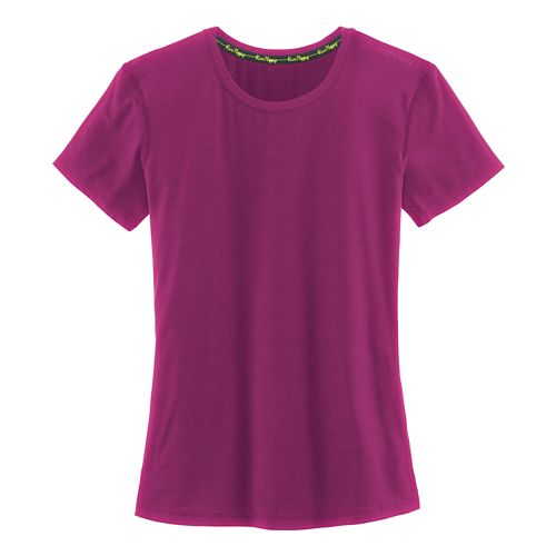 Womens Brooks Distance Short Sleeve Technical Tops - Heather Currant XS