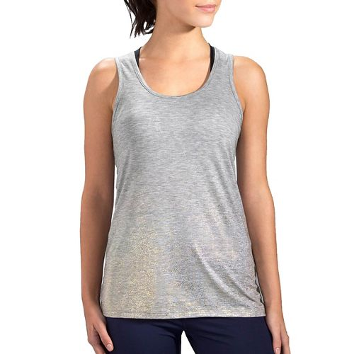 Womens Brooks Distance Sleeveless & Tank Technical Tops - Heather Oxford/Sol S