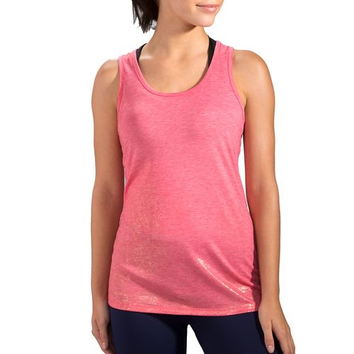 Womens Brooks Distance Sleeveless & Tank Technical Tops - Heather Poppy/Sol S