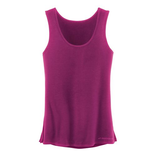 Womens Brooks Distance Sleeveless & Tank Technical Tops - Heather Currant S