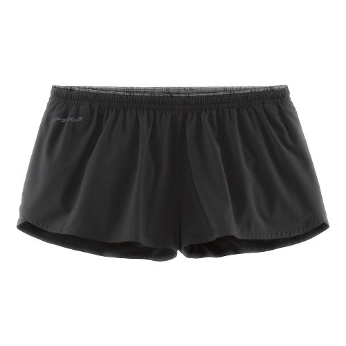 Womens Brooks Racey 2.5 Splits Shorts - Black L