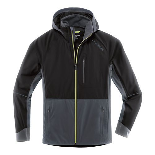 Mens Brooks Seattle Shell Warm Up Hooded Jackets - Black/Asphalt M