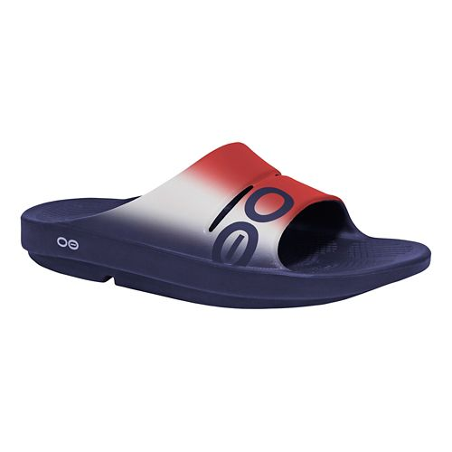 OOFOS Ooahh Sport Sandals Shoe - Red/White 14