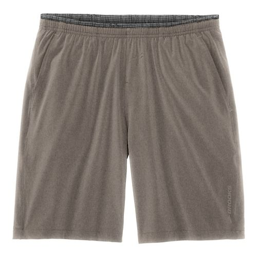 Mens Brooks Rush 9 Unlined Shorts - Heather Carb S