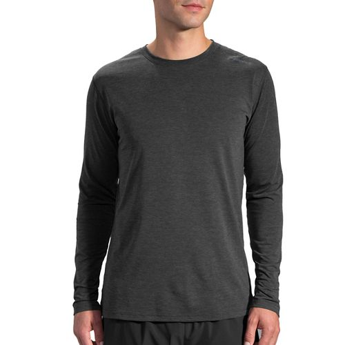 Mens Brooks Distance Long Sleeve Technical Tops - Heather Black L
