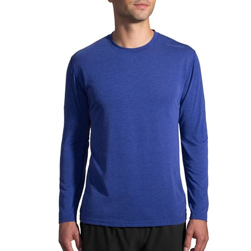 Mens Brooks Distance Long Sleeve Technical Tops - Heather Basin XL