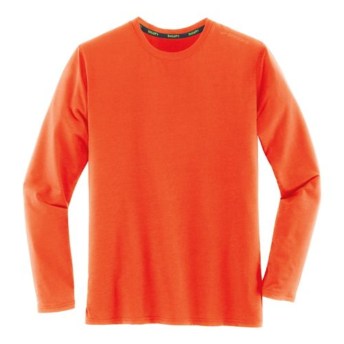 Mens Brooks Distance Long Sleeve Technical Tops - Heather Desert S