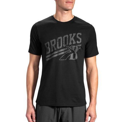 Mens Brooks Heritage T-Shirt Short Sleeve Technical Tops - Black/Asphalt L