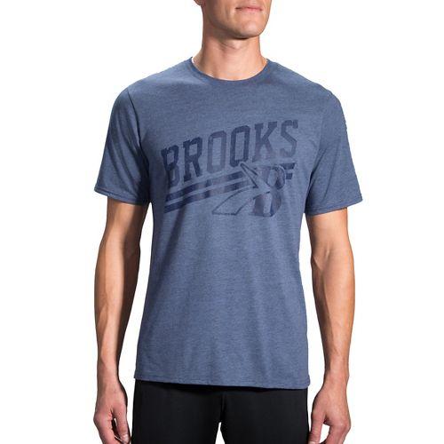 Mens Brooks Heritage T-Shirt Short Sleeve Technical Tops - Coast S