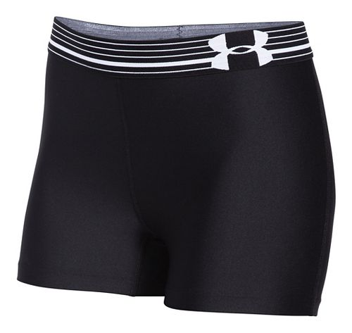 Womens Under Armour HeatGear Compression Shorty Unlined Shorts - Black/White XS
