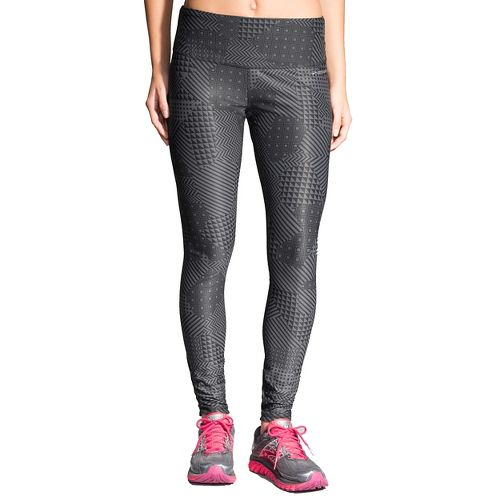 Womens Brooks Greenlight Full Length Tights - Asphalt Mosaic S